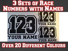 3 conjuntos 125 mm Motocross Raza números Y Nombres Pegatina de vinilo T3 Bicicleta de pista MX