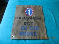 WWII US ARMY ALL JAPANESE 100 TH/442 ND  REGIMENT COMBAT TEAM GO FOR BROKE FLAG
