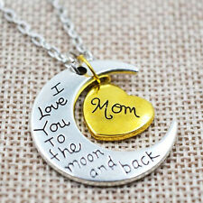 NEW I Love You To The Moon And Back Gold & Silver Family Necklace Pendant Heart