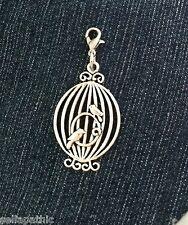 Bird Open cage Mother Tibetan Silver Charm Bookmark Bracelet Scrapbooking