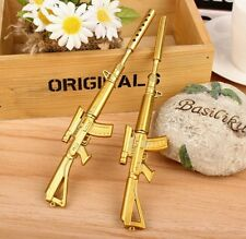 Gun Rifle Military Pen Desk Office Accessory Gift Present Gold Color