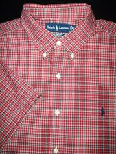POLO RALPH LAUREN BUTTON SHIRT -XL- RED WHITE BLACK PLAID -PONY -S/S -CLASSIC