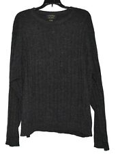Charter Club 100% CASHMERE Charcoal Gray Ribbed Knit Crew Neck Mens Sweater Sz L