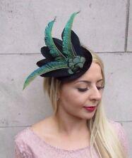 Black Dark Green Peacock Statement Feather Fascinator Races Hat Velvet Vtg 4035