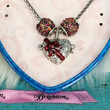 Brighton Barrel Slide Charm Necklace Box of Chocolates & 2 Red Crystal Spacers