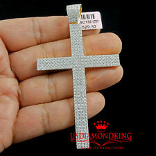 Micro Pave Solid Sterling Silver Yellow Gold Finish Cross Jesus Pendant Charm