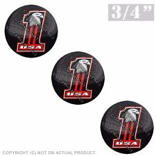 """3 Pack Gel Top Domed Glossy 3/4"""" 3M Premium Decal Stickers BALD EAGLE USA #1 RED"""