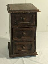 Antique Vtg 3 Drawer Small Spice Sewing Wooden Cabinet  12 x 7 x 8