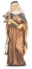 "Saint Catherine of Sienna Statue, Hand Painted Gold Leaf Accents 4"", Boxed"