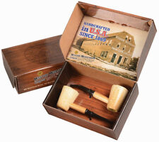 2 Tobacco Smoking Pipe Mark Twain Missouri Meerschaum Corn Cob Gift Set - 5625