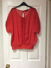 DOROTHY PERKINS LADIES CORAL RED SHEER BATWING BLOUSE SIZE 12