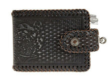 Harley-Davidson Mens Freedom Eagle Woven Black Leather Bifold Wallet by LODIS