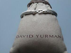 David Yurman 5mm Cable Classic Buckle Bracelet with Diamonds Size Medium