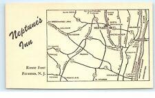 *Neptune's Inn Route Four Paramus NJ New Jersey Map Postcard C49
