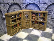Bookshelves #4 /w Cupboard Thomarillion Unpainted Resin Dwarven Forge D&D