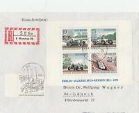 Briefumschlag Einschreiben 1972 Avus Berlin verschickt nach Lübeck
