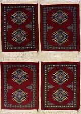 Rugstc 1.5x2 Bokhara Jaldar Red Rug, Hand-Knotted,Car Mat Set 4 Pieces,Wool