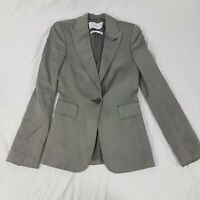 Zara Silk Wool Limited Edition Grey Blazer Jacket Size UK S Smart Career Wear