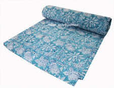 100%Cotton Handmade Twin Size Indian Bedspread Kantha Quilt Throw Ethnic Blanket