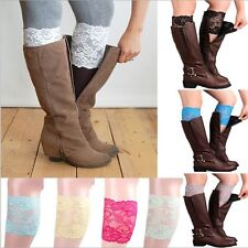 New 9 colors Stretch Lace Boot Cuffs Flower Leg Warmers Lace Trim Toppers Socks