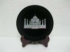07 Inches Black Marble Office Plate Taj Mahal Replica Inlaid Collectible Plate