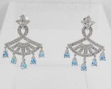 14K White Gold Diamond and Blue Topaz Chandelier Earrings Dangle Drop