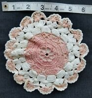 "Vintage Doily Pink Crochet Hot Pad 6"" Coaster Home Decor Chic A24"