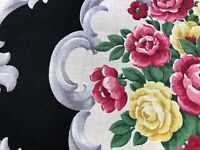 Dorothy Draper Touch Barkcloth Era Vintage Fabric Unused Cottage Roses on Black