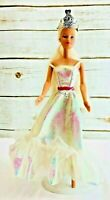 "MATTEL BARBIE Doll Long Blonde Hair Blue Eyes White Dress 12"" Tall Free Ship"