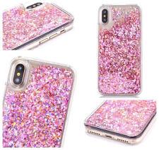 iPhone X / 10 - Rose Gold Pink Waterfall Confetti Hard Glitter Liquid Case Cover