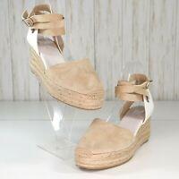 New Rag & Bone Beige White Suede Leather Sandals Size 8.5 Womens Espadrilles