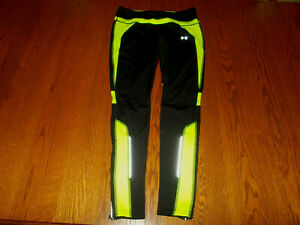 UNDER ARMOUR COLD GEAR BLACK & GREEN REFLECTIVE RUNNING PANTS WOMENS SMALL EXC.