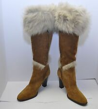 ANN TAYLOR Suede Leather Faux Fur Boots Zip Knee High Tan Made in ITALY 8.5 NWOB