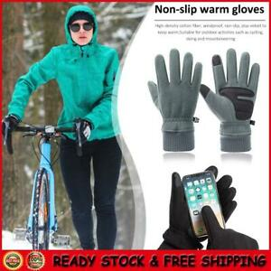 1 Pair Warm Fleece Touch Screen Outdoor Cycling Windproof Gloves For Sports Ski