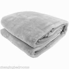 SILVER GREY SUPERSOFT MINK FUR THROW BLANKET EX LARGE SIZE 200 CM x 240 CM