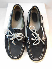 Sperry Top Sider 9.5  Navy Leather Silver Plaid Lace up Flat Loafer Boat shoe