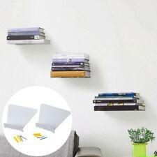 2Pcs Stainless Steel Hidden Bookcase Book Storage Shelf Rack Room Wall Decor