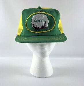 K-Products Snapback Hat - D & PL Cotton Trucker Green Yellow Mesh Vintage USA