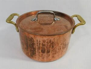 """Vintage Copper ALL CLAD Stock Pot Pan Cookware 8"""" with Copper Lid"""