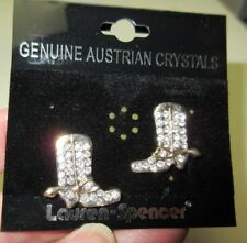 "Texas Boots Earrings with Swarovski Crystals  Gorgeous! 3/4"" x 7/8"""