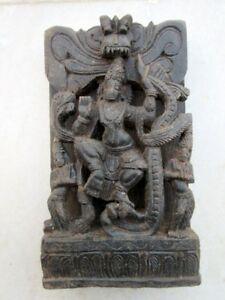 Antique Old Hand Carved Wooden South Indian Hindu Goddess Mata Figure Statute