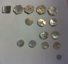15 x Assorted Mother of Pearl Craft Sewing Shell Buttons  Free postage in the UK