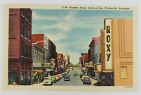 Postcard Linen Franklin Street Clarksville Tennessee Old Cars Roxy