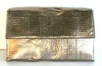 CHARLES DAVID GOLD METALLIC SNAKE EMBOSSED GENUINE LEATHER FLAP CLUTCH PURSE