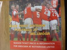 2003/2004 Rotherham United: Season Ticket Prices & Information For The Season. T