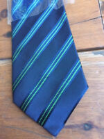 Bruni Silk Navy Blue Striped Tie. Made in Italy.100% Silk. New With Tags