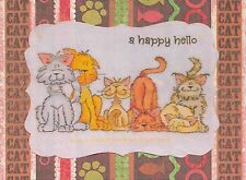 "GROUP OF CUTE CATS HANDMADE CARD READS ""A HAPPY HELLO"" HAS KITTY PAWS & FISH FUN"