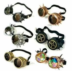 Vintage Steampunk Cyber Retro Black Spike Goggles Gothic Victorian Accessory