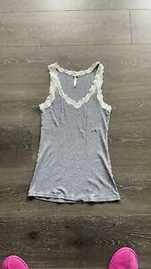 PJ Salvage Gray Lace Tank Top Pajama Top Loungewear Size Large