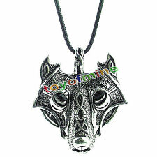 Men's Cool Stainless Steel Wolf Animal Head Pendentif Collier Chaîne Cadeau